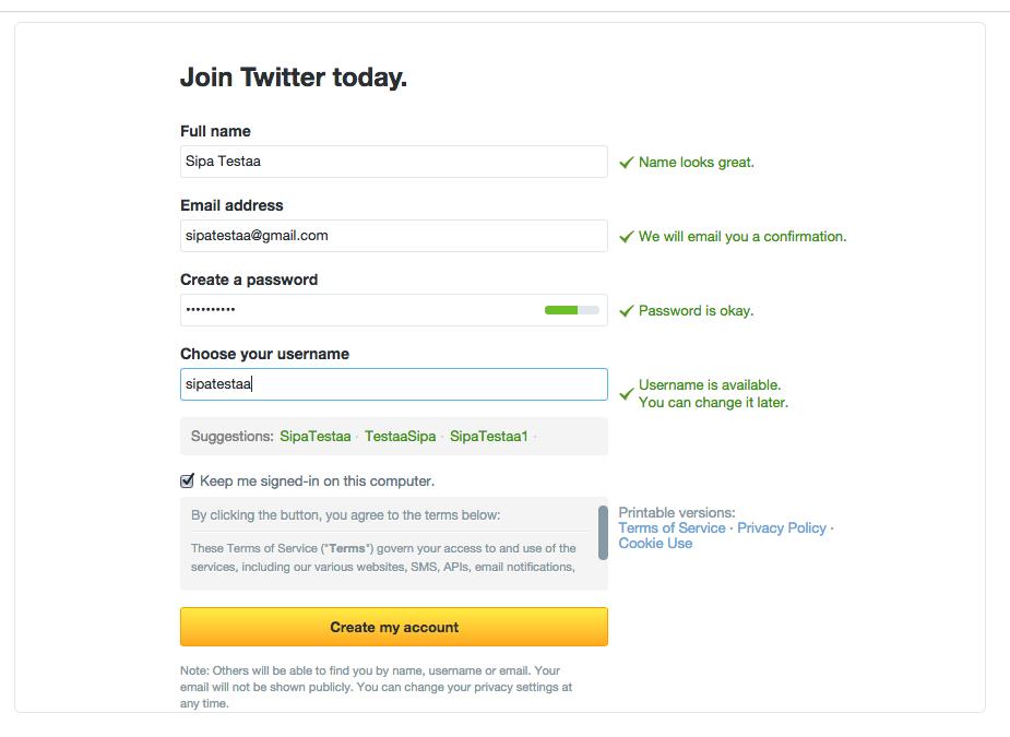 Twitter rekisteröityminen