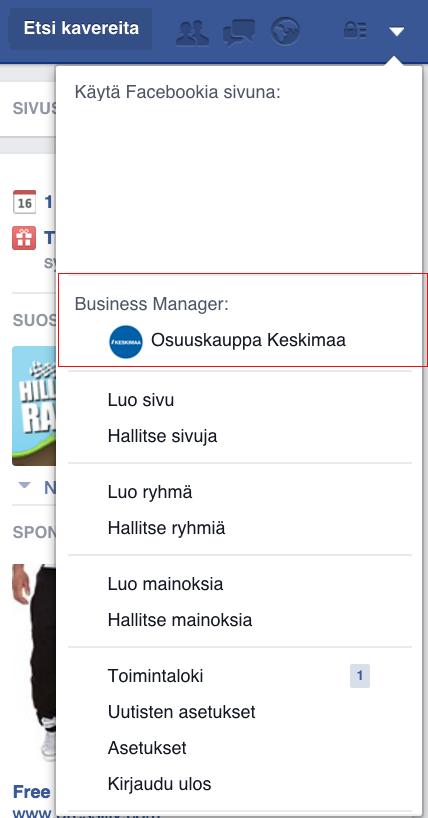 Facebook Business Manageriin siirtyminen