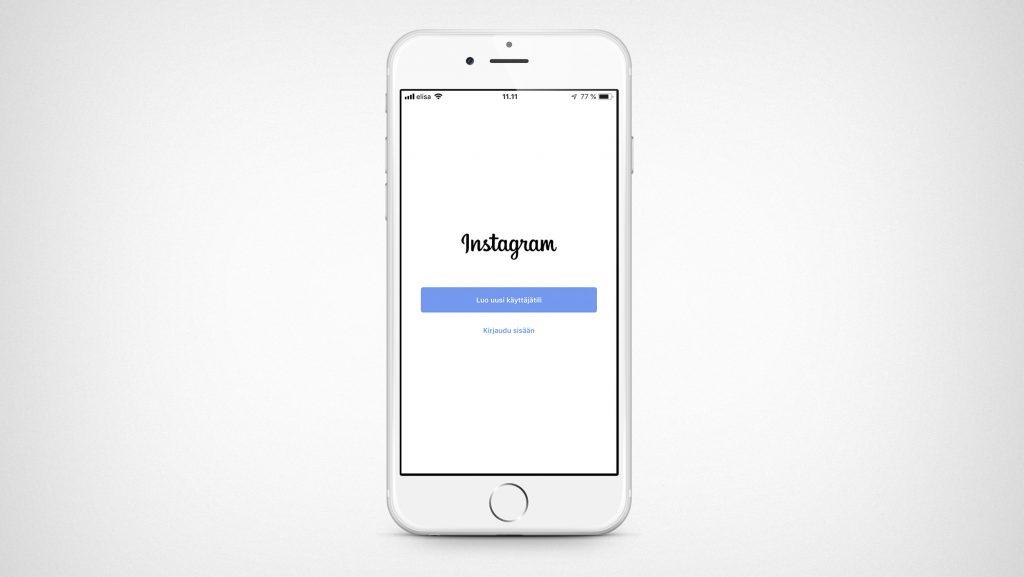 Instagramin aloitusruutu