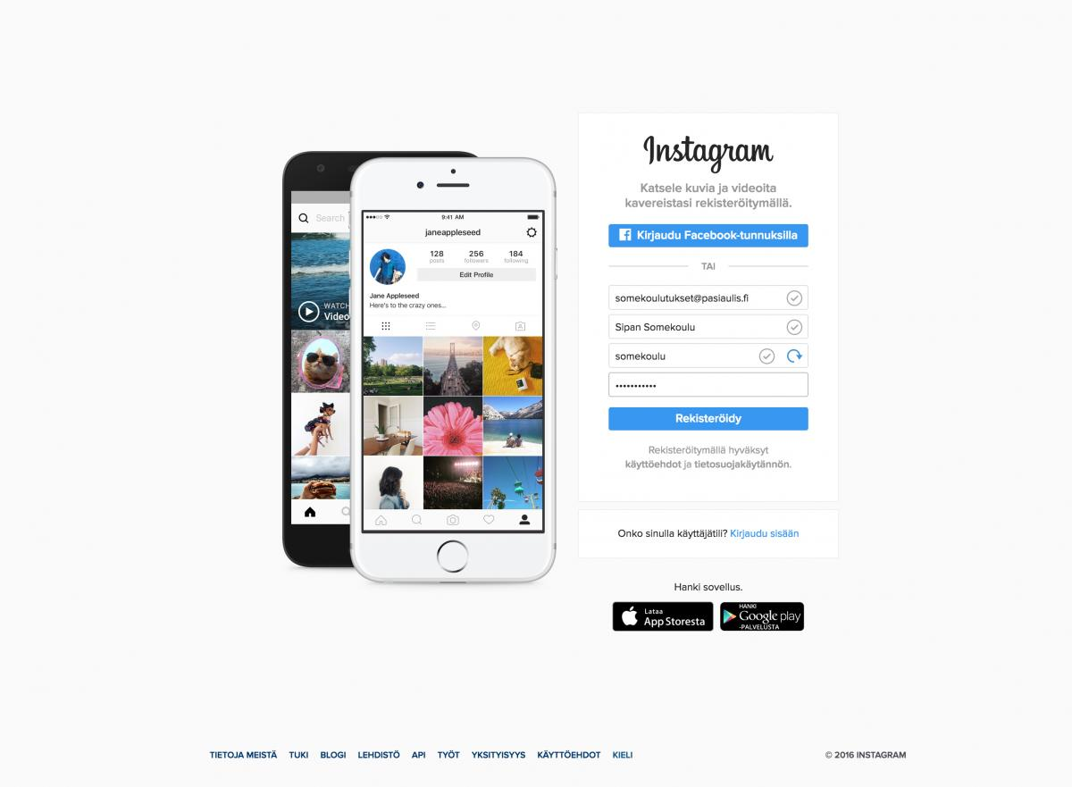 Instagramiin rekisteröityminen selaimella